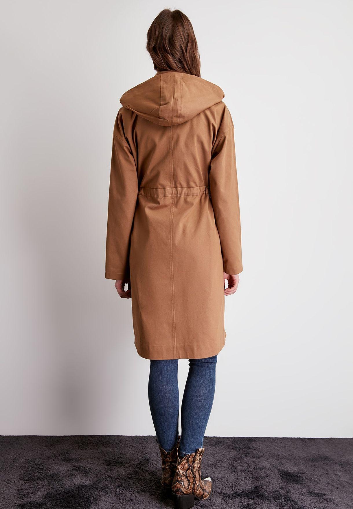 Drawstring Waist Hooded Trench Coat