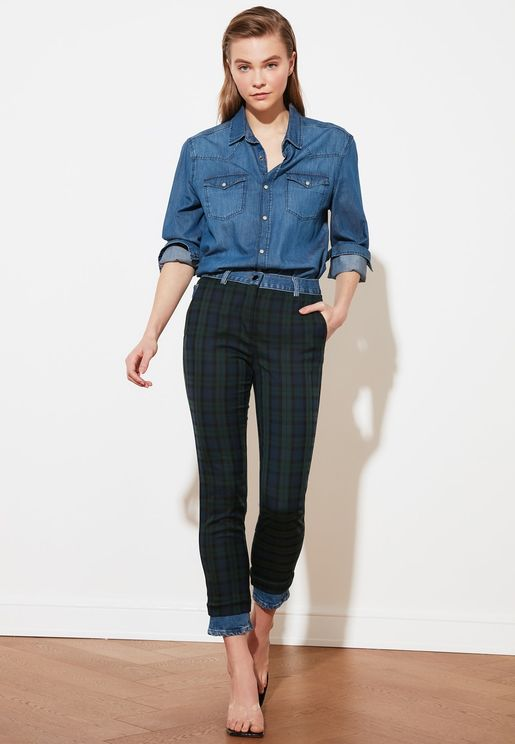 Plaid High Waist Slim Fit Jeans