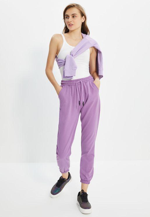 Drawstring Waist Cuffed Pants