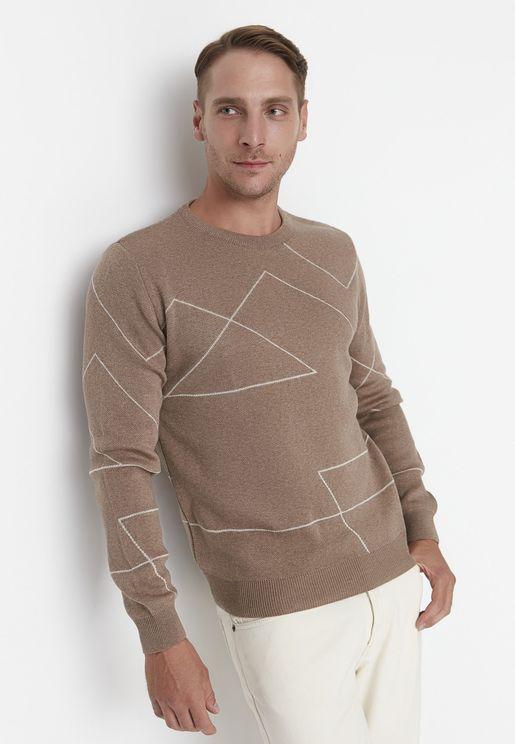 Stripe Pattern Crew Neck Sweater
