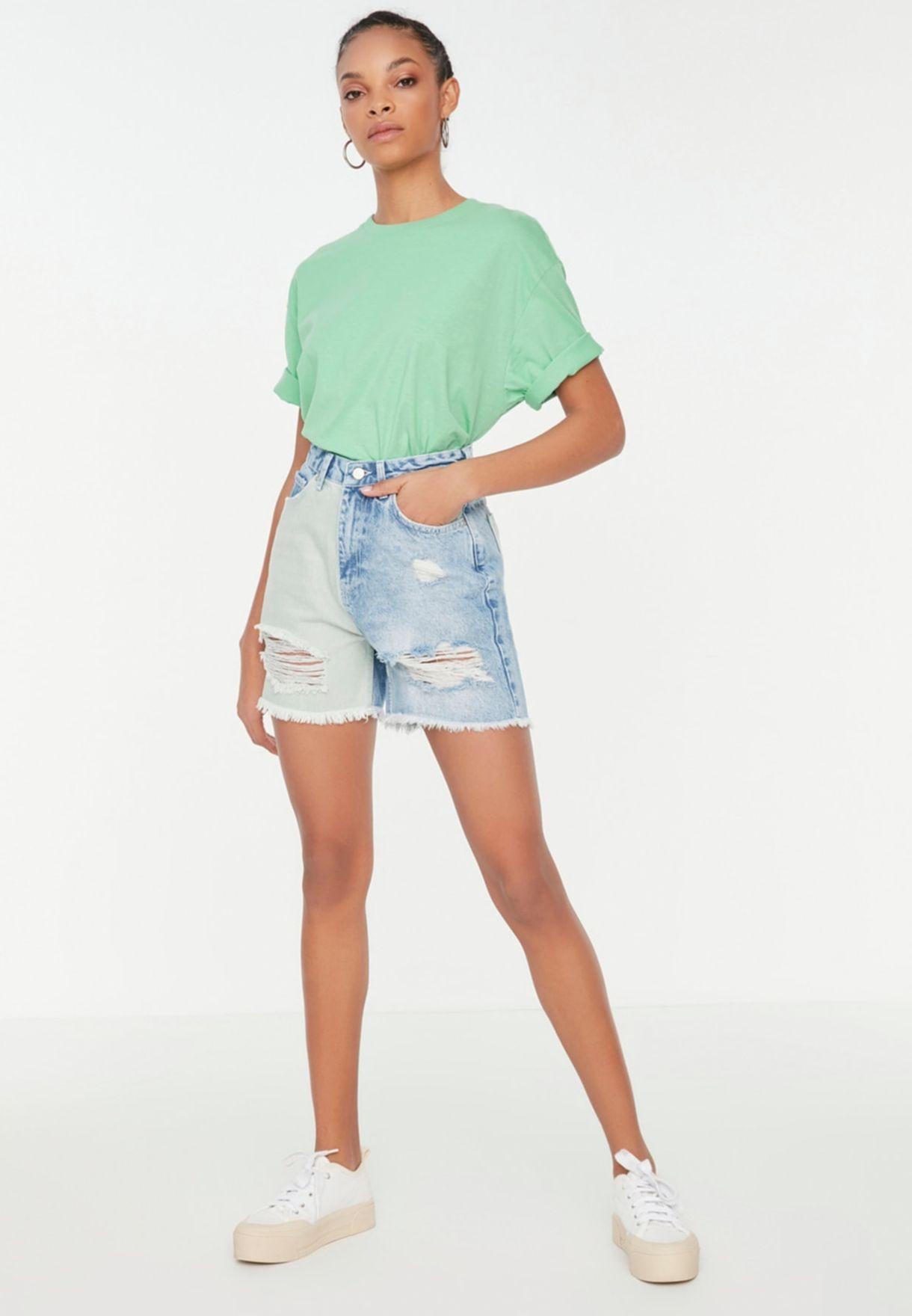 High Waist Denim Mini Shorts