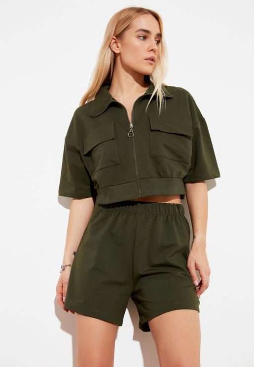Zip Through Crop Jacket & Shorts Set
