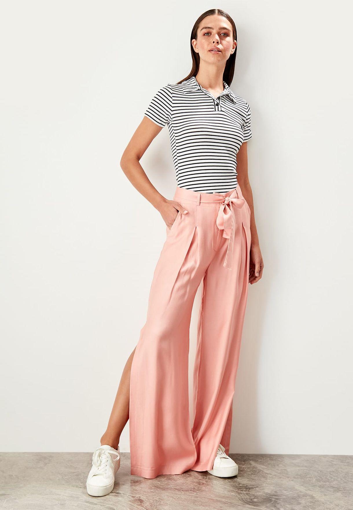 f619eb02b7 Shop Trendyol pink Side Split Wide Leg Pants TWOSS19LJ0269 for Women ...