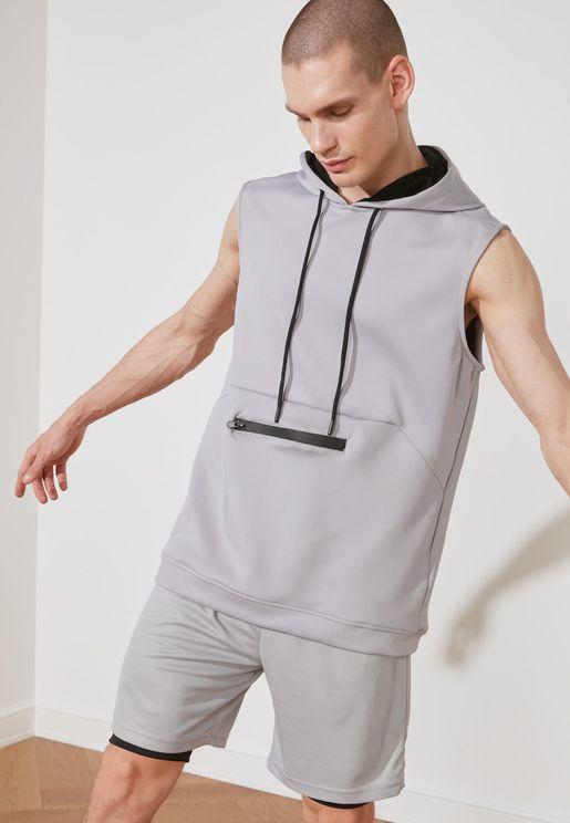 Zip Pocket Hooded Vest