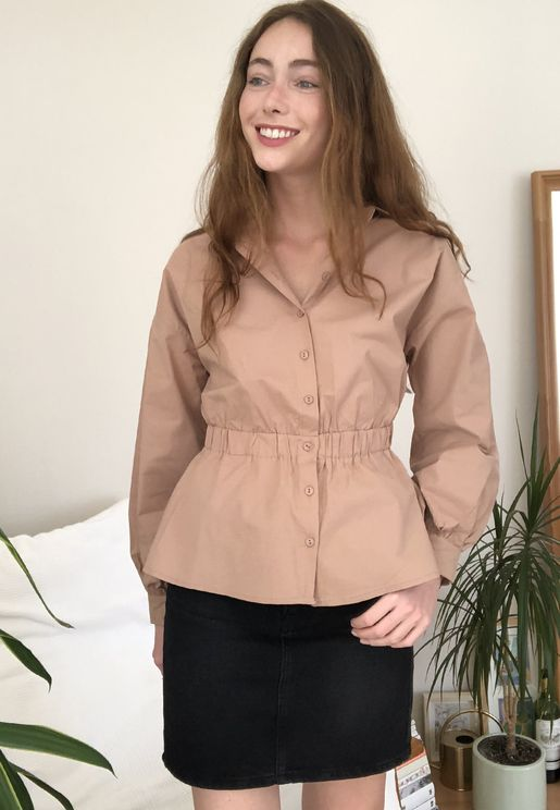 Ruched Waist Peplum Shirt