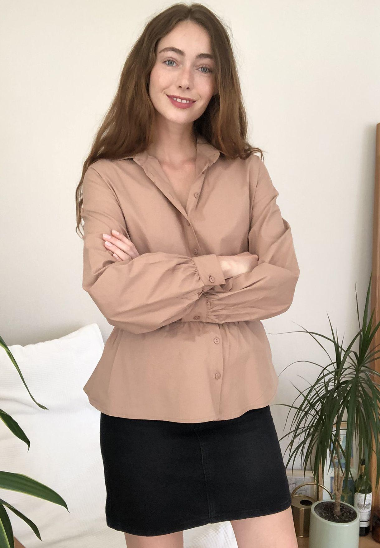 Ruched Waist Peplum Shirt