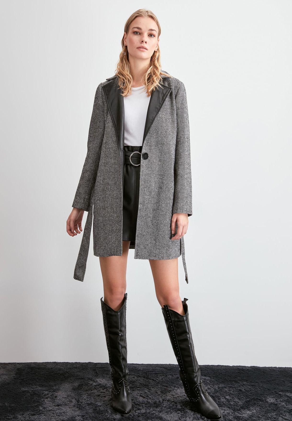 PU Collar Herringbone Coat