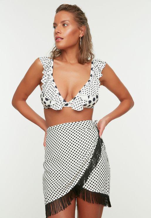 White Polka Dot Tassel Detailed Skirt