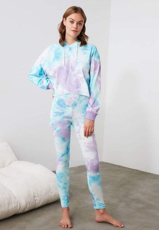 Printed Hooded Pyjama Set