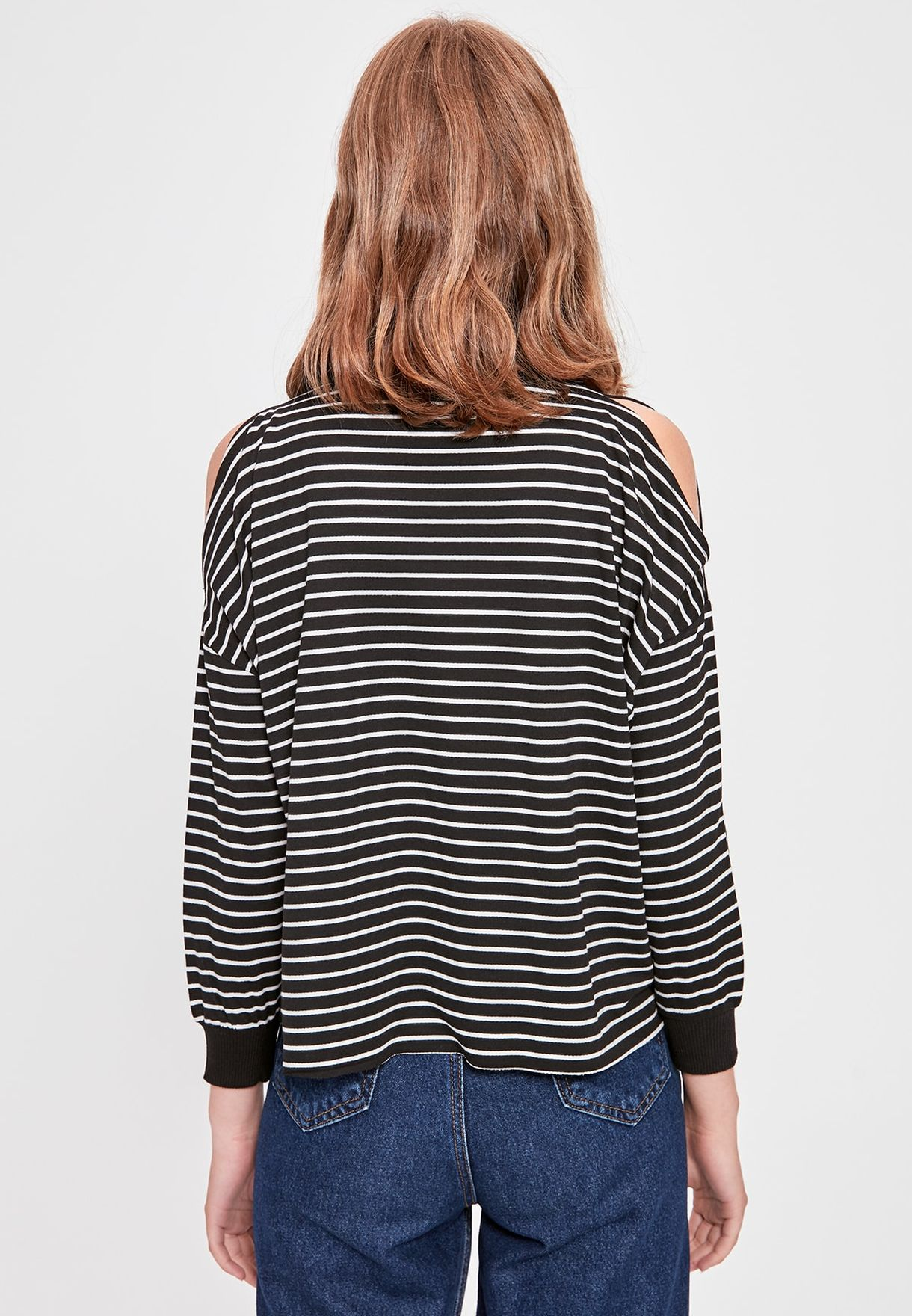 Cut Out Shoulder Striped Sweatshirt
