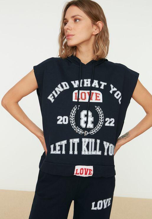 Printed Hoodie & Pants Set