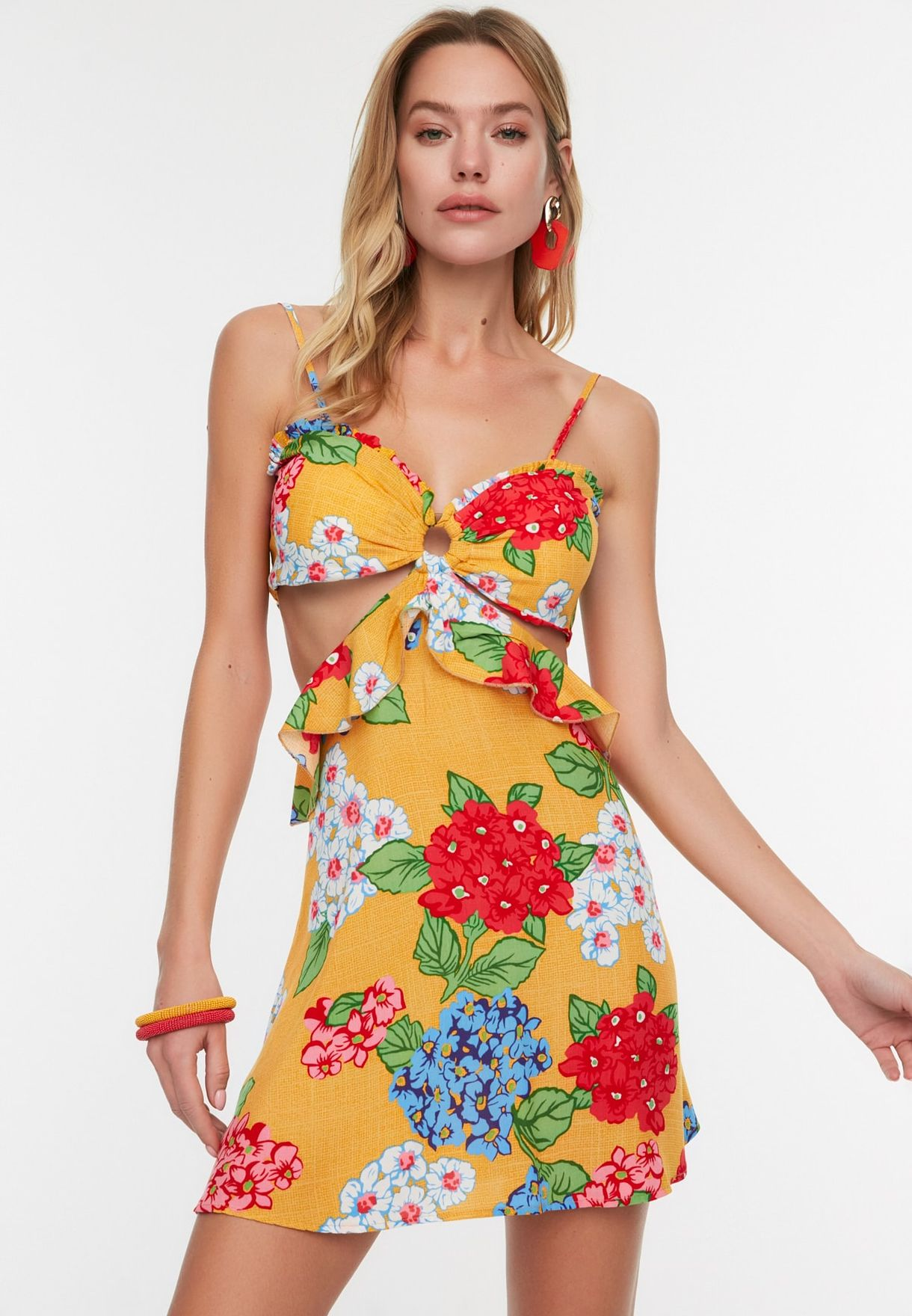 Cut Out Detail Printed Dress