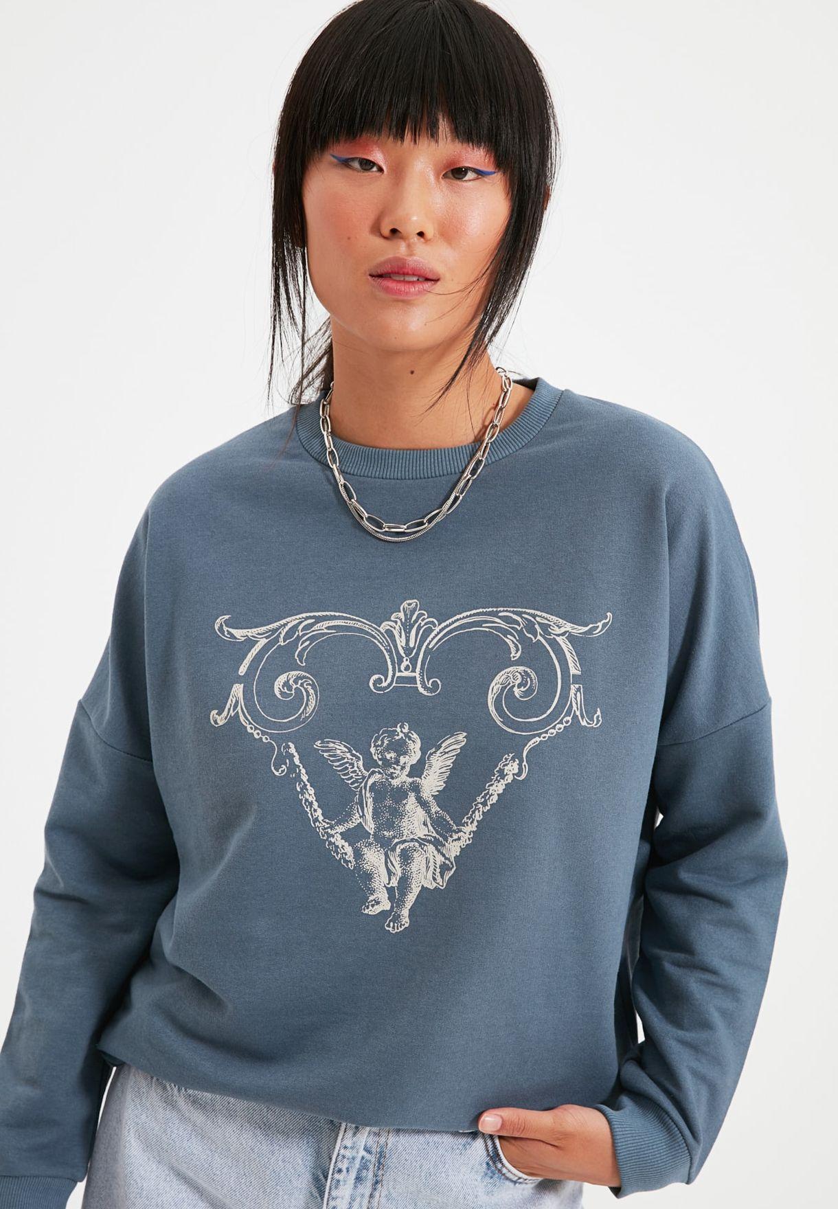 Graphic  Knitted Sweatshirt