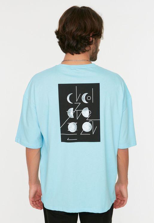 Printed Oversize Crew Neck T-Shirt