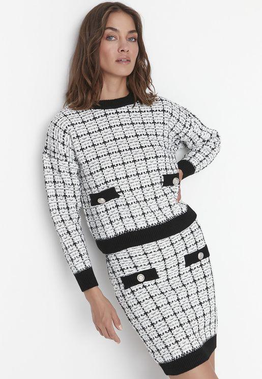 Contrast Detail Top & Skirt Set