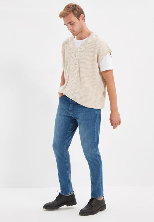 Mid Wash Tapered Fit Jeans