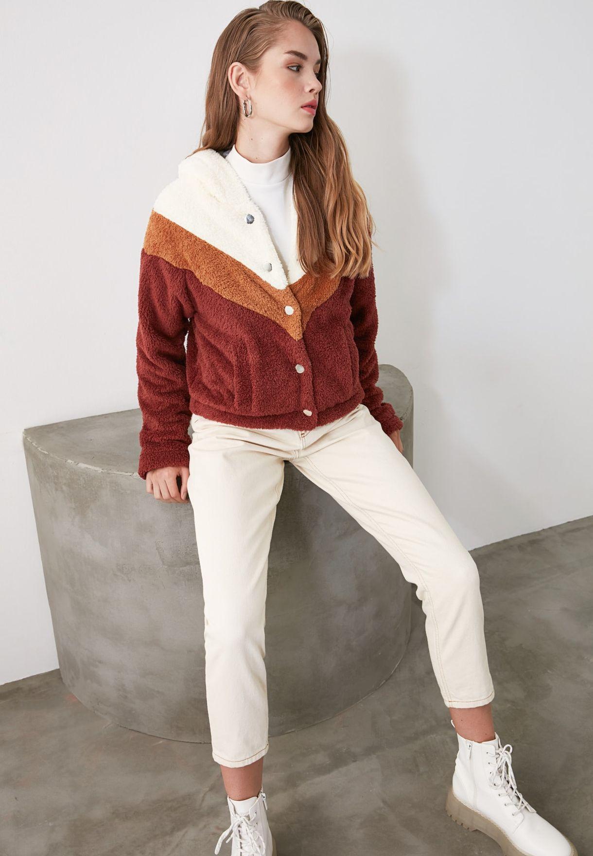Colorblock Faux Fur Coat