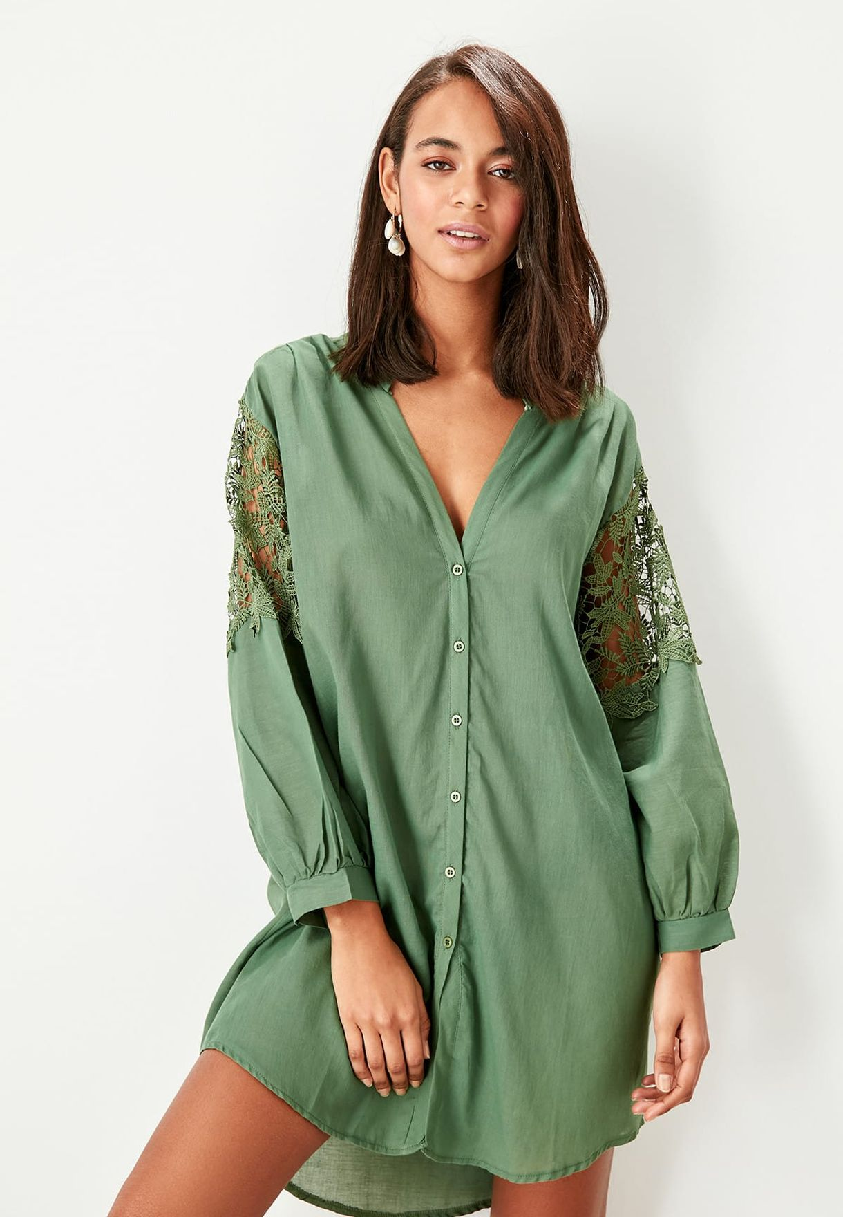Lace Detail Button Down Longline Shirt