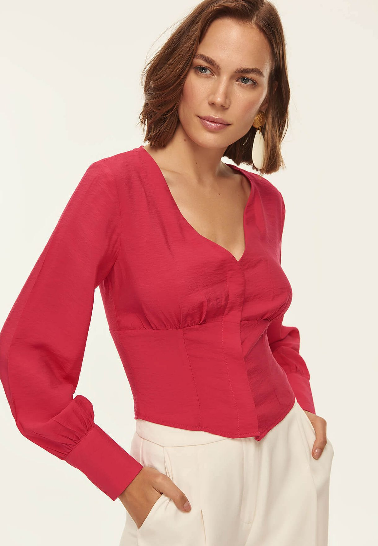 aaa690eab Shop Trendyol pink Ruched Detail Plunge Top TOFSS18LE0375 for Women ...