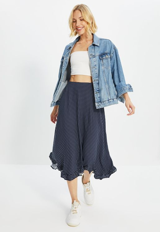 Asymmetric Printed Midi Skirt