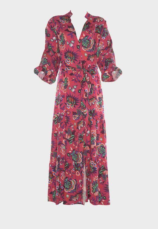 Roll Sleeve Printed Kimono