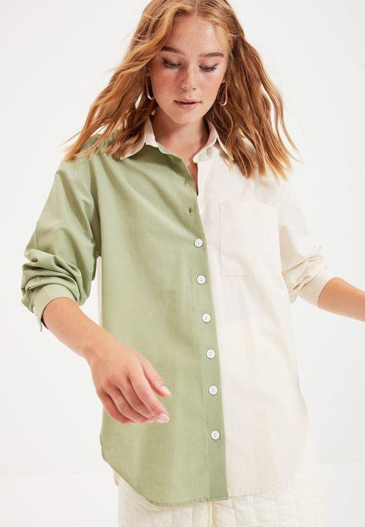 Colorblock Button Down Shirt