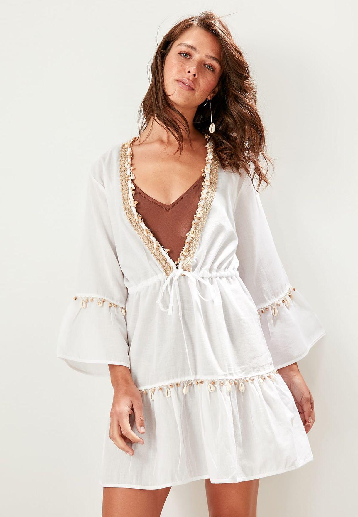 5f98625fd Shop Trendyol white Plunge Neck Shell Detail Dress TBESS19WZ0015 for ...