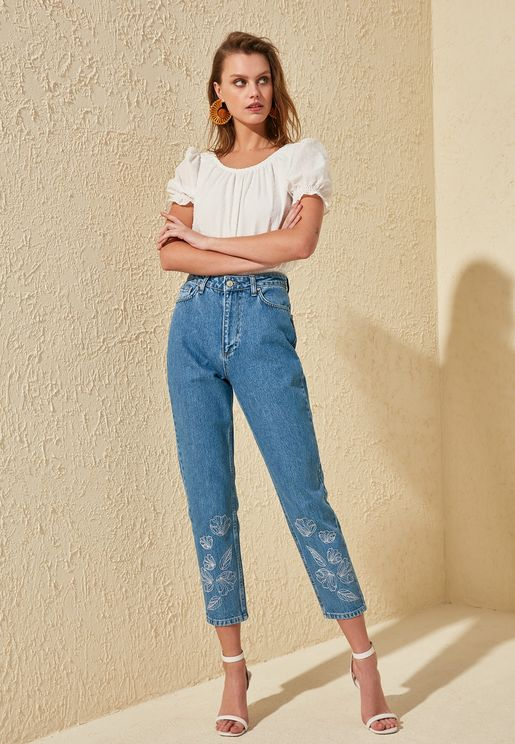 Embroidered High Rise Mom Jeans