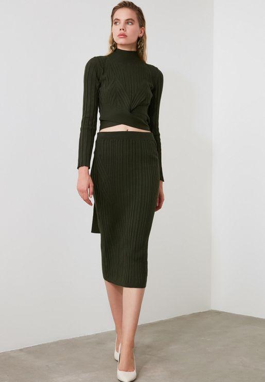 Knitted Crop Top & Skirt Set