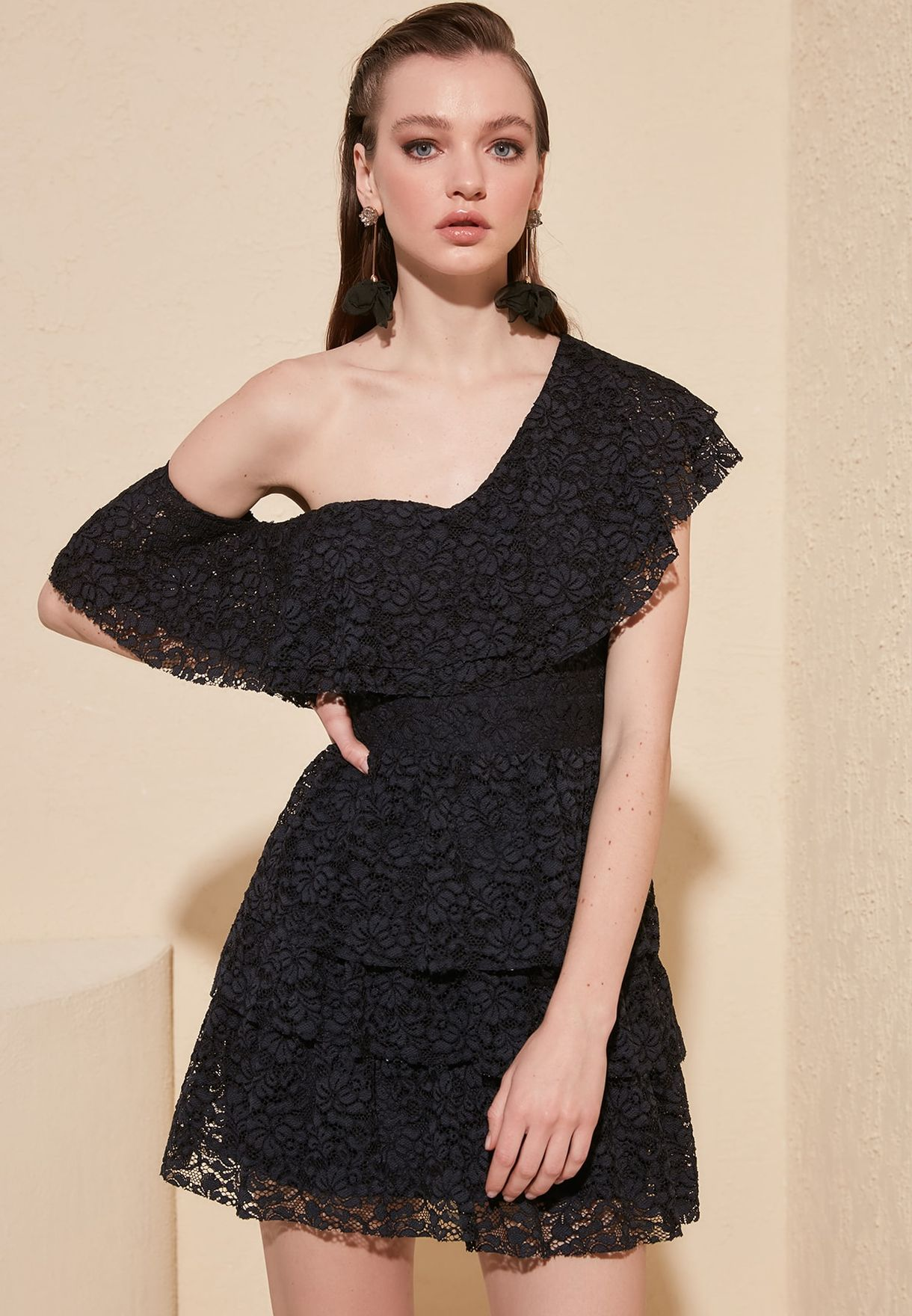 Layered One Shoulder Lace Dress