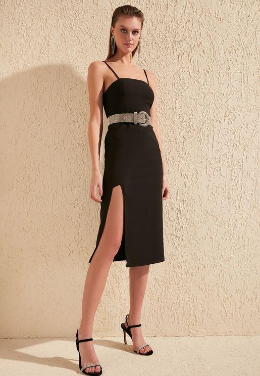 Side Split Cami Strapp Dress