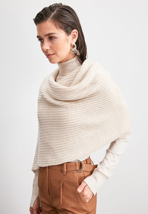 Ecru Thick Knit Scarf