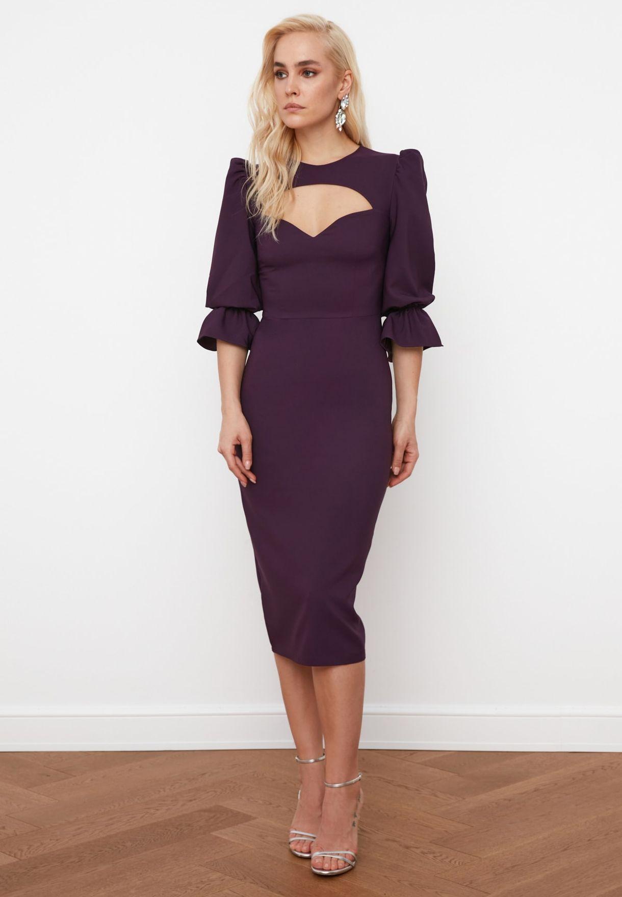 Damson Collar Detailed Dress