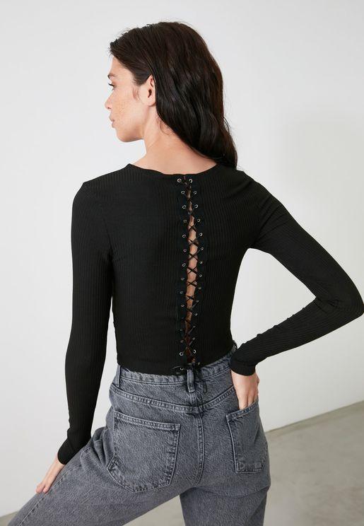 Black Back Detail Knitted Blouse