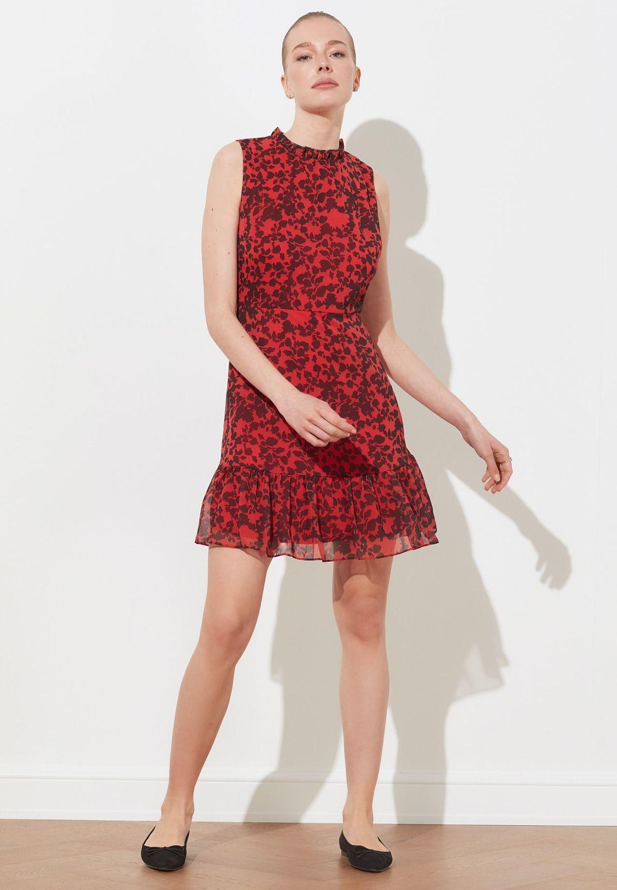 High Neck Peplum Dress