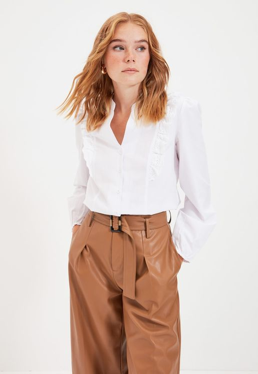 Embroidered Lace Detail Shirt