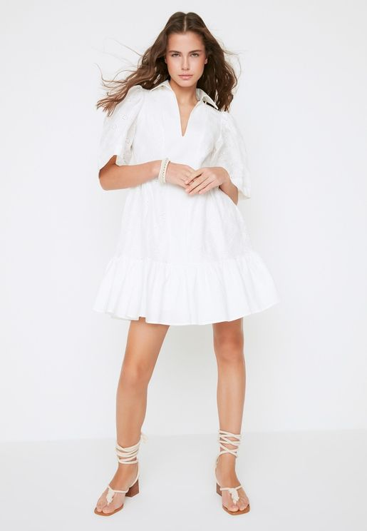 Pleated Broderie Detail Dress