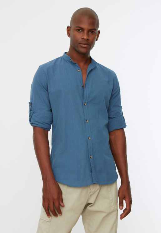 Grandad Collar Slim Fit Shirt