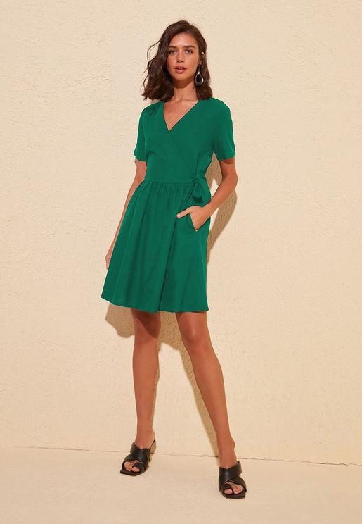 Pocket Detail Wrap Dress