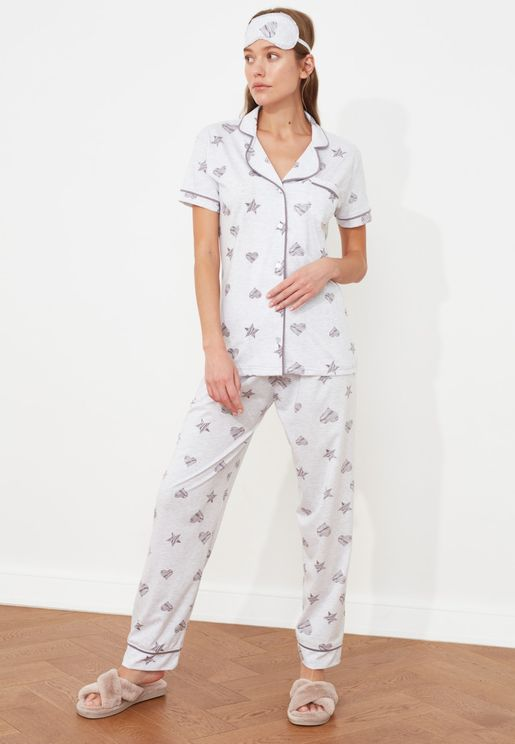 Printed Knitted Pajama Set