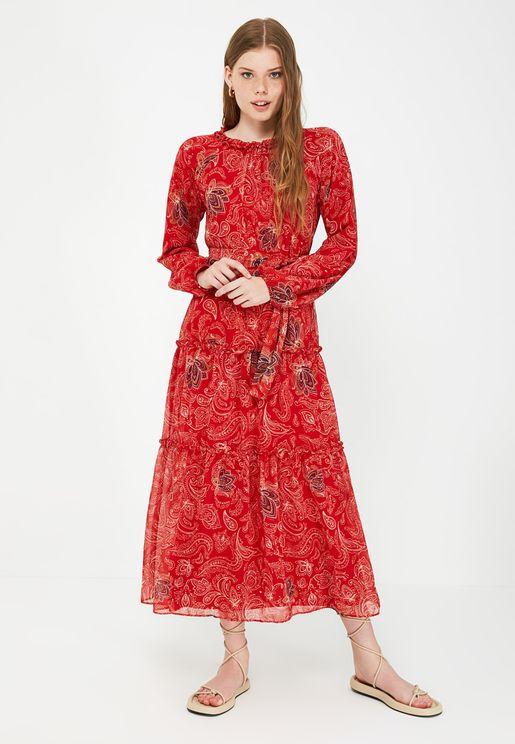 Lace Detail Printed Dress