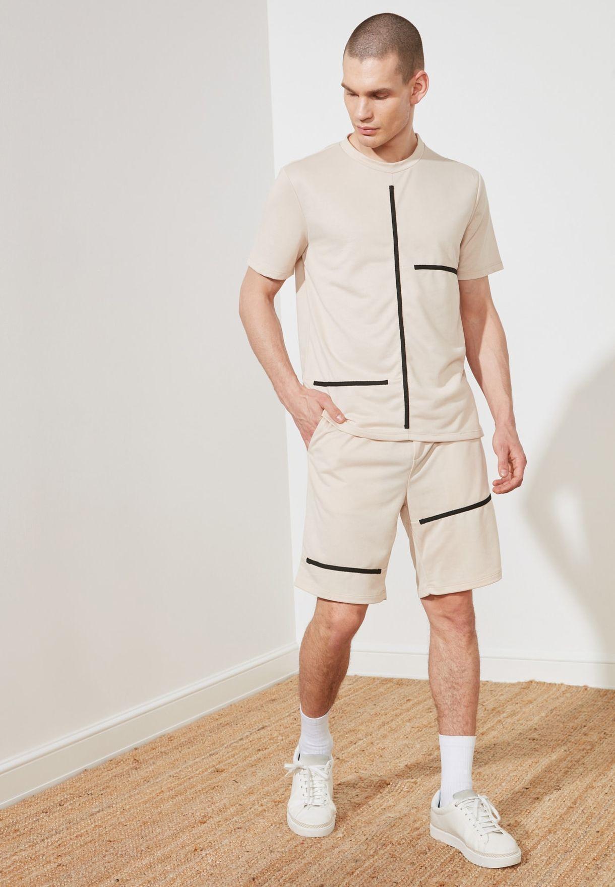 Striped Detail T-Shirt + Shorts Set