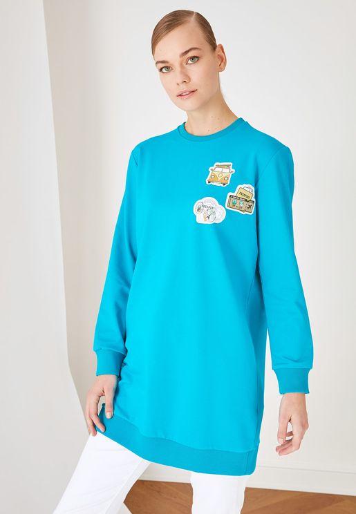 Crew Neck Longline Sweatshirt