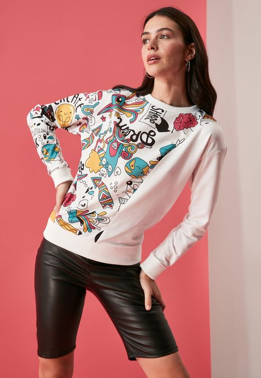 Printed Knitted Sweatshirt