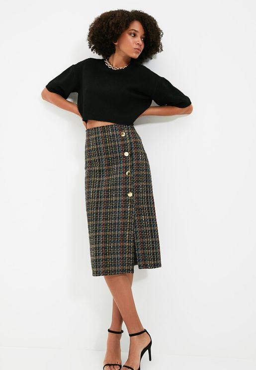 Button Detail Midi Skirt