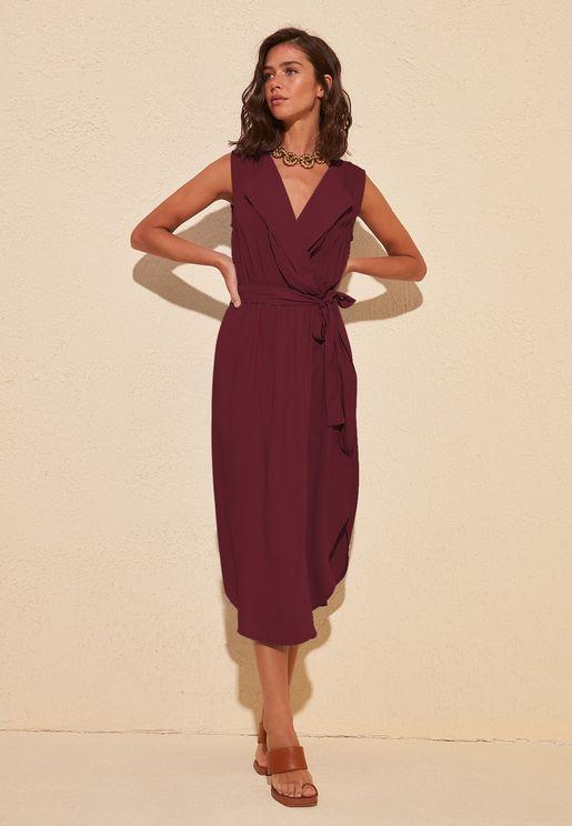 Pleat Detail Wrap Dress