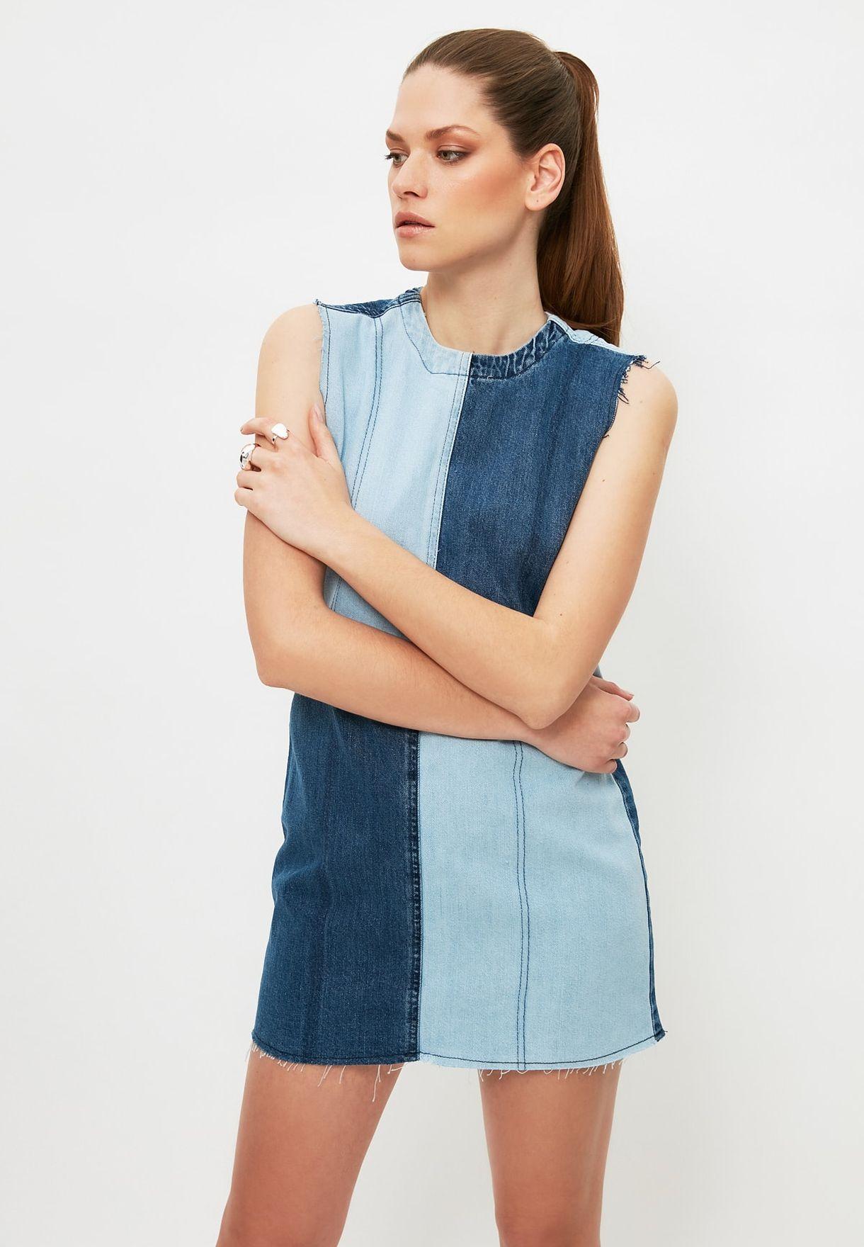 Colorblock Denim Dress