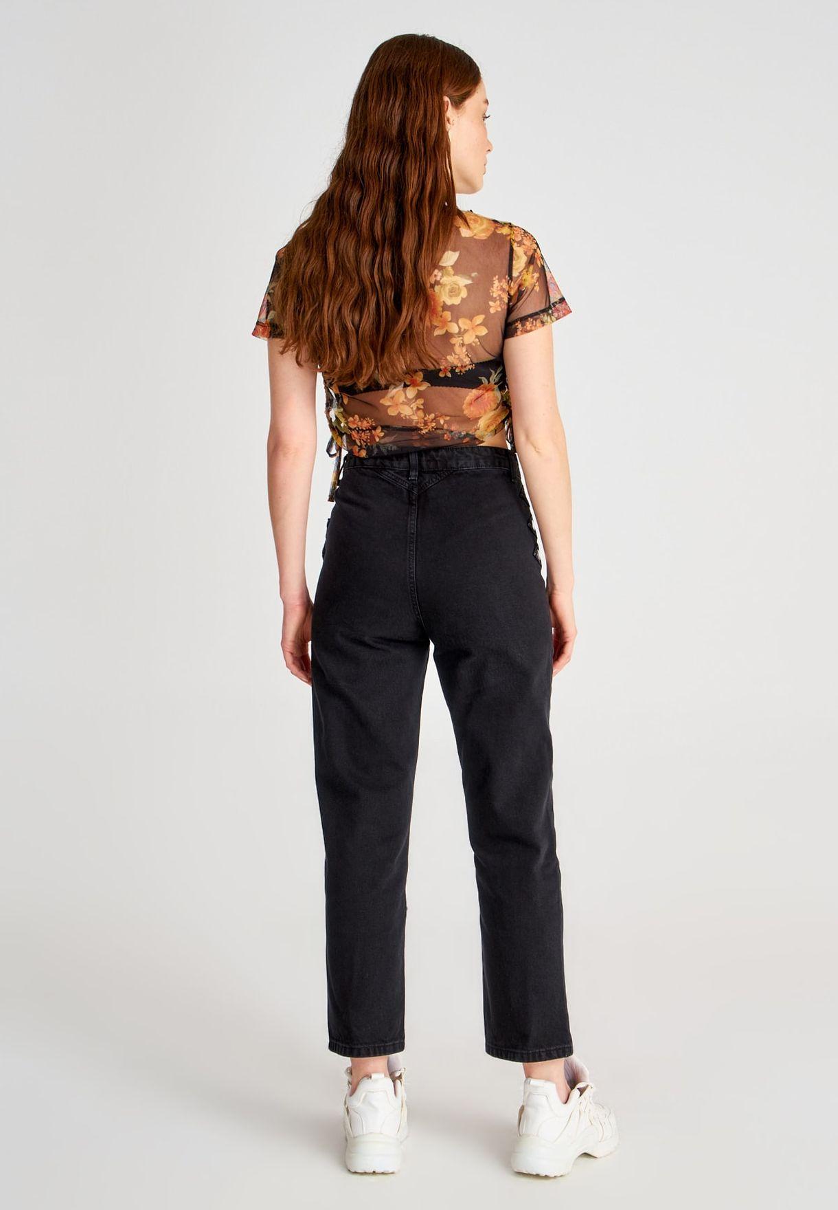 Button Detail High Waist Jeans