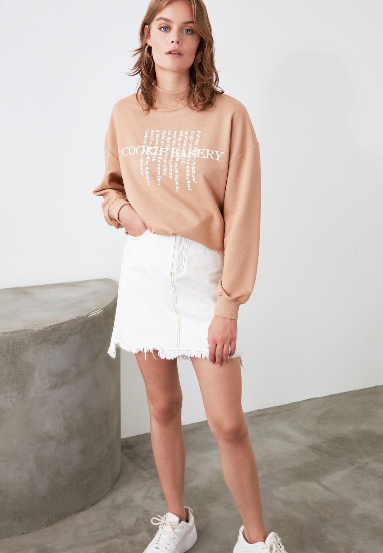 High Neck Slogan Sweatshirt