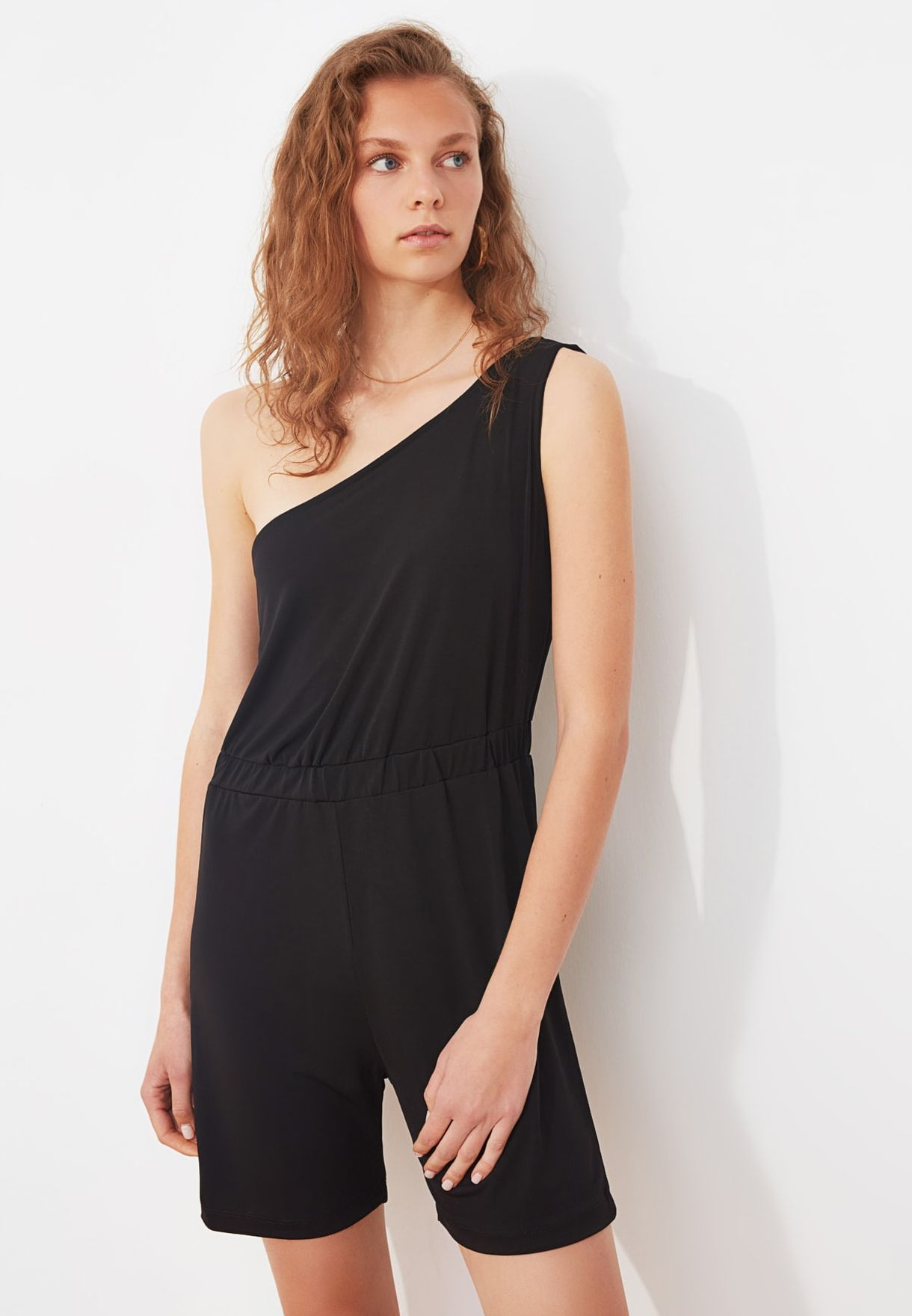 One Shoulder Knitted Playsuit
